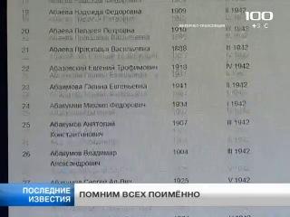 ТВ100 12 февраля 2014: На сайте «100 ТВ» размещена открытая база данных с именами похороненных на Пискарёвском мемориальном кладбище